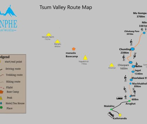 Tsum Valley Route Map